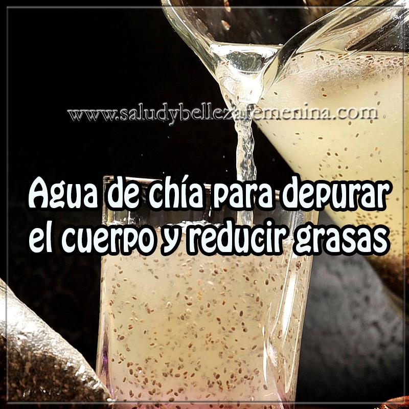 Bebidas para adelgazar ,  receta de agua de chía para depurar el cuerpo y reducir grasas, remedios caseros para adelgazar, chía