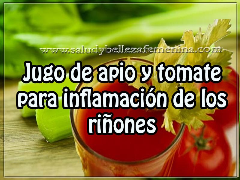 Bebidas saludables , jugo de apio y tomate  para inflamación de los riñones