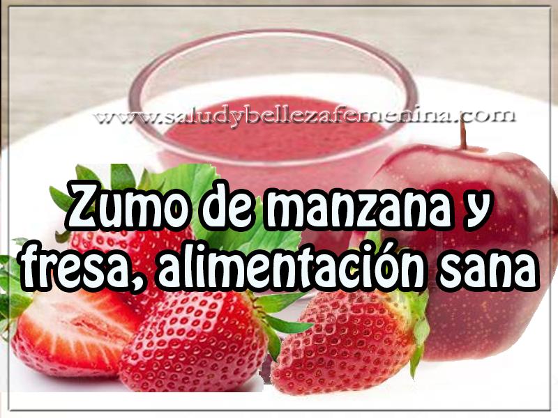Bebidas saludables , receta de zumo de manzana y fresa, alimentación sana