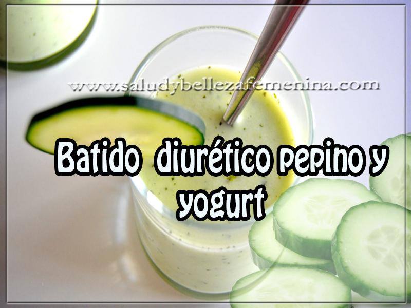 Bebidas para adelgazar , batido  diurético pepino y yogurt