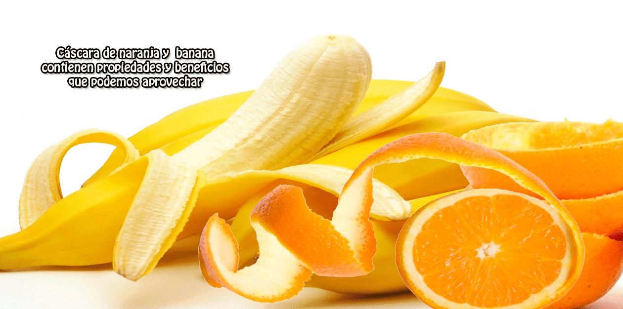 Cáscara de naranja y banana contienen propiedades y