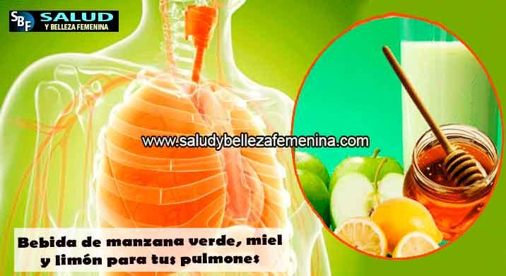 Bebida de manzana verde, miel y limón para tus pulmones